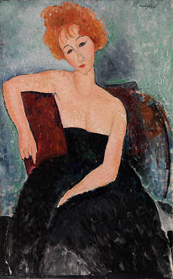Redheads Wall Art - Painting - Redheaded Girl In Evening Dress by Amedeo Modigliani