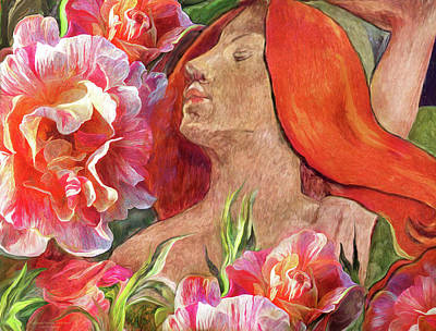 Master Mixed Media - Redheaded Woman With Roses by Carol Cavalaris