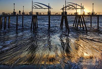 Redondo Beach Pier Wall Art - Photograph - Sweeping Sun Below The Pier by Nick Carlson