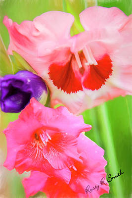 Digital Art - Red,pink And Purple Gladiolas. by Rusty R Smith