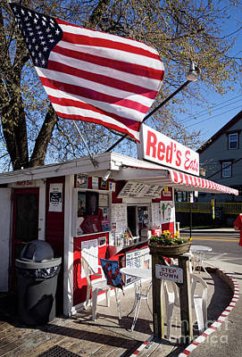 Photograph - Red's Eats And Flag, Wiscasset, Maine  -10131-10132 by John Bald