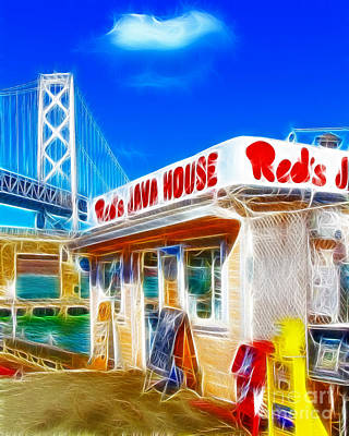 Bay Bridge Digital Art - Red's Java House Electrified by Wingsdomain Art and Photography