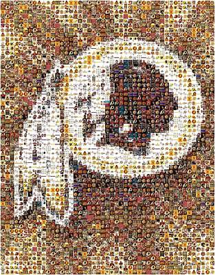 Football Royalty-Free and Rights-Managed Images - Redskins Mosaic by Paul Van Scott