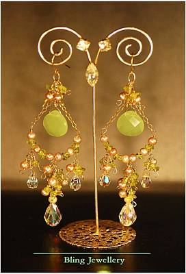 Gold Fill Wire Jewelry - Reduced - Green Chalcedony Abacus Pearl And  Peridot Chandeliers by Janine Antulov