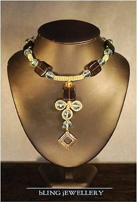 14k Jewelry - Reduced - Square Smokey Quartz And Aqua Glass Crystal Necklace by Janine Antulov