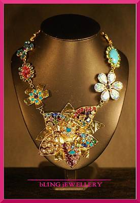 Howlite Jewelry - Reduced Large Foiled Flower Multi Coloured Encrusted Necklace by Janine Antulov