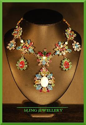 Cabochon Wall Art - Jewelry - Reduced Spring Flower Multi Coloured Festoon Necklace by Janine Antulov