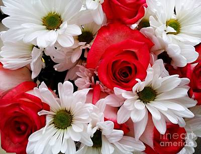 Photograph - Red,white, Roses And Daisies Bouquet by Margaret Newcomb