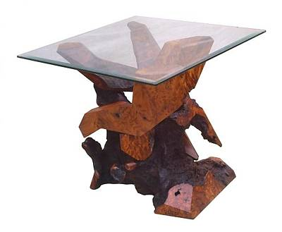 Sculpture - Redwood Glass Top Accent Table 17910 by Daryl Stokes