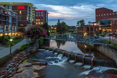 Greenville Photograph - Reedy River View At Sunset by Janet Barnes