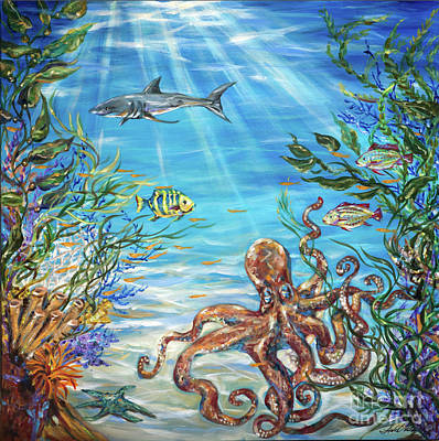 Painting - Reef And Octopus by Linda Olsen