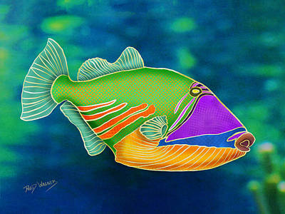 Mixed Media - Reef Triggerfish by David Wagner