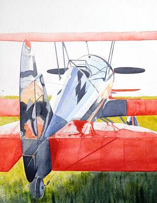 Reflection On Biplane Art Print