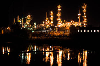 Photograph - Refinery At Night 1 by Stephen Holst