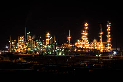 Photograph - Refinery At Night 3 by Stephen Holst