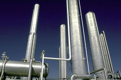 Jack Drill Digital Art - Dramatic Refinery With Blue Sky by Dennis Thompson