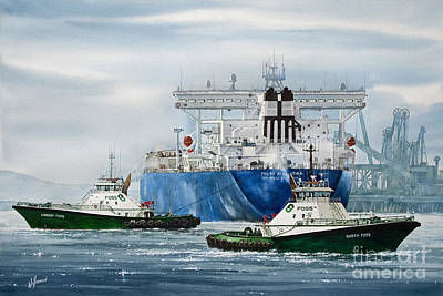 Tugboat Wall Art - Painting - Refinery Tanker Escort by James Williamson
