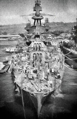 Battle Ship Photograph - Refitting The Mighty Pennsylvania by JC Findley