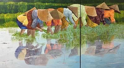 Rice Paddy Painting - Reflect by Elizabeth Mundaden