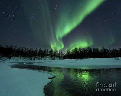 Illuminated Photograph - Reflected Aurora Over A Frozen Laksa by Arild Heitmann
