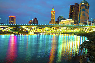 Photograph - Reflected Colors Of A Columbus Skyline At Dusk by Gregory Ballos