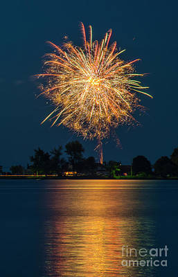 Photograph - Reflected Fireworks by Joann Long