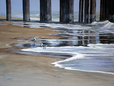 Reflected Pier Print by Christopher Reid