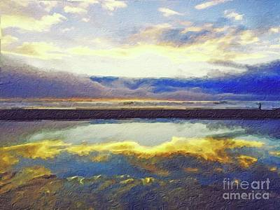 Painting - Reflecting At The Beach by Joseph J Stevens