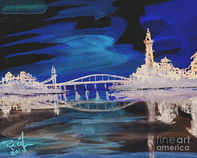 Digital Art - Reflecting Bridge 2 by Reed Novotny