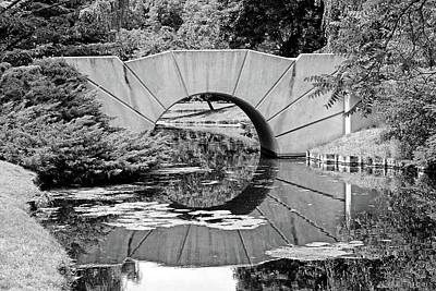 Photograph - Reflecting Bridge Dow Gardens Bw 062618 by Mary Bedy