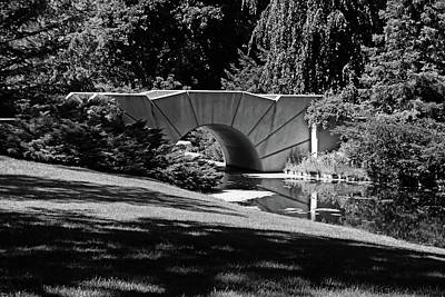 Photograph - Reflecting Bridge Dow Gardens Bw by Mary Bedy