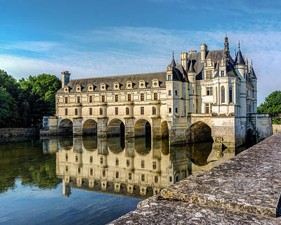 Reflecting Chateau Chenonceau In France Art Print