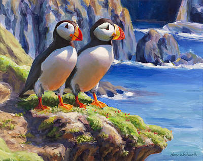 Puffin Painting - Reflecting - Horned Puffins - Coastal Alaska Landscape by Karen Whitworth