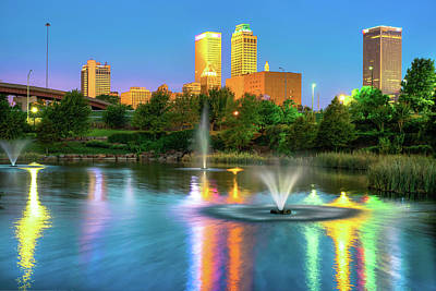 Photograph - Reflecting Lights Of The Tulsa Skyline by Gregory Ballos