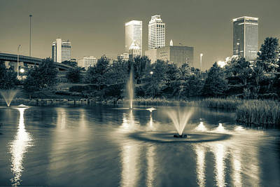 City Scenes Photograph - Reflecting Lights Of The Tulsa Skyline - Sepia by Gregory Ballos