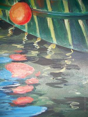 Blue Bouys Painting - Reflecting by Mickey Bissell