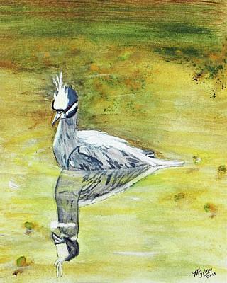 Sea Birds Painting - Reflecting Night Heron by M Gilroy