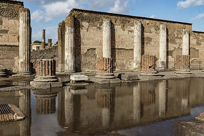 Photograph - Reflecting On Ancient Pompeii - Basilica Marble Columns Symmetry by Georgia Mizuleva