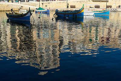 Maltese Photograph - Reflecting On Malta - Saint Julians Harbor Charming Old Boats by Georgia Mizuleva
