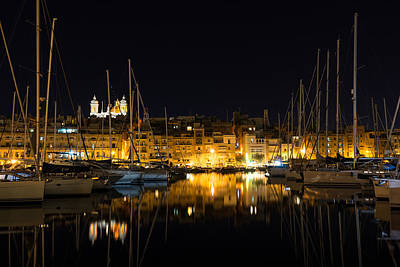 Maltese Photograph - Reflecting On Malta - Senglea Golden Night Magic by Georgia Mizuleva