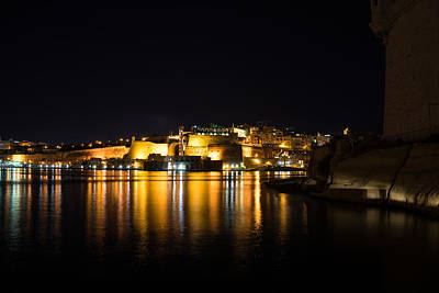 Photograph - Reflecting On Malta - Valletta Night Magic by Georgia Mizuleva