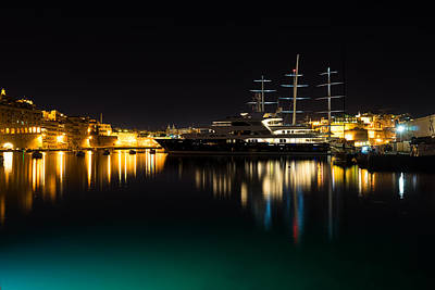 Maltese Photograph - Reflecting On Malta - Vittoriosa And Senglea Megayachts by Georgia Mizuleva