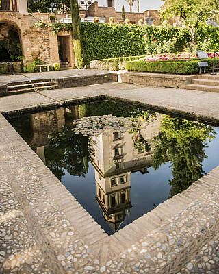 Reflecting Pool - Alhambr Palace - Granada Spain Art Print by Jon Berghoff