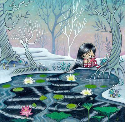 Art Print featuring the painting Reflecting Self by Kaori Hamura Long