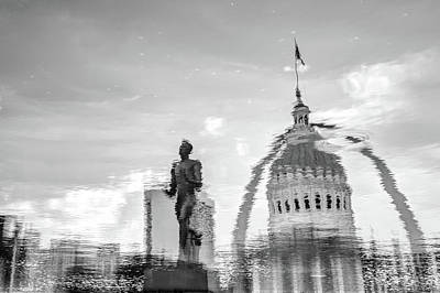 Photograph - Reflecting The Lou - Black And White - St Louis Waterscape by Gregory Ballos