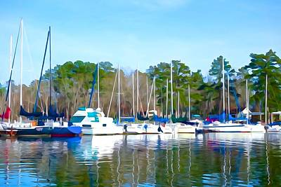 Photograph - Reflecting The Masts - Watercolor Style by Charlie and Norma Brock