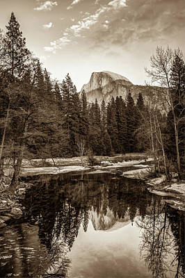 Photograph - Reflecting Yosemite Half Dome Skies - Sepia Edition by Gregory Ballos