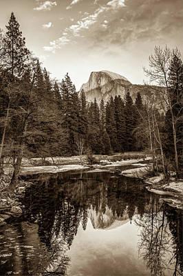 Photograph - Reflecting Yosemite Half Dome Skies - Sepia Edition by Gregory Ballos