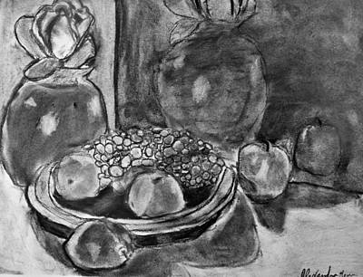 Grapes Drawing - Reflection by Alexandra Herr