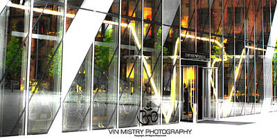 Manchester Photograph - Reflection  Armani Manchester by Vin Mistry
